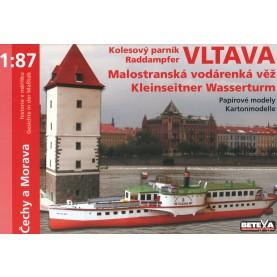Raddampfer Vltava und Kleinseitner Wasserturm